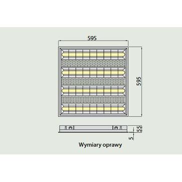 Oprawa rastrowa LED CELTA 50W, 4X60CM p/t barwa neutralna (LD-CE4060W-50)